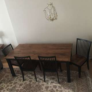 Solid Wood Dinning Set With 4 Chairs And 1 Bench