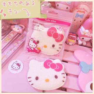 日本🇯🇵Hello Kitty 沐浴洁肤棉洗脸扑洁面扑起泡吸水涨大