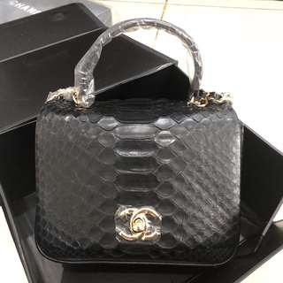 CHANEL CITYZEN CHIC MINI FLAP BAG WITH TOP HANDLE IN PHYTON SKIN
