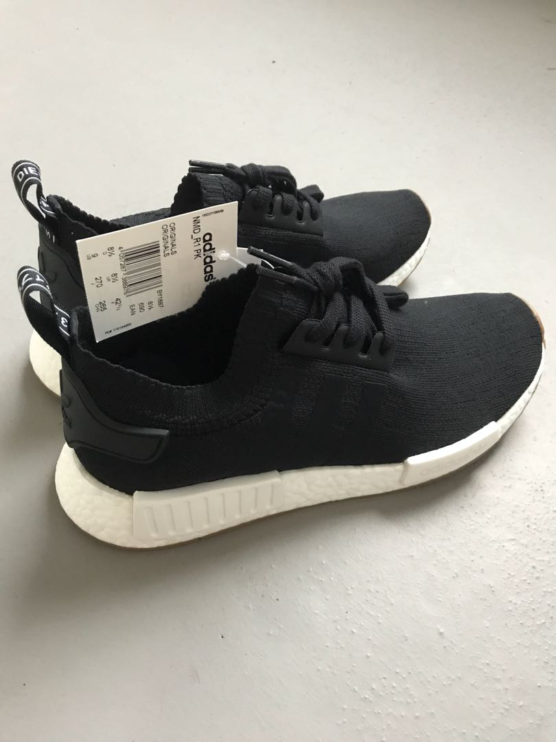 "the latest 38b25 7ac15 Adidas NMD R1 PK ""BLACK GUM SOLE"", Mens Fashion, Footwear, Sneakers on  Carousell"