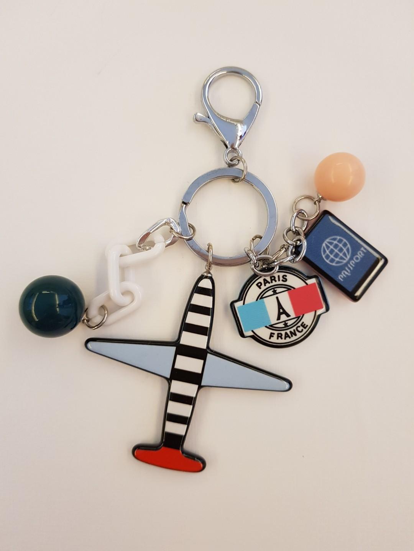Airplane keychain   bag charm (black white blue) 1a72cfbc62