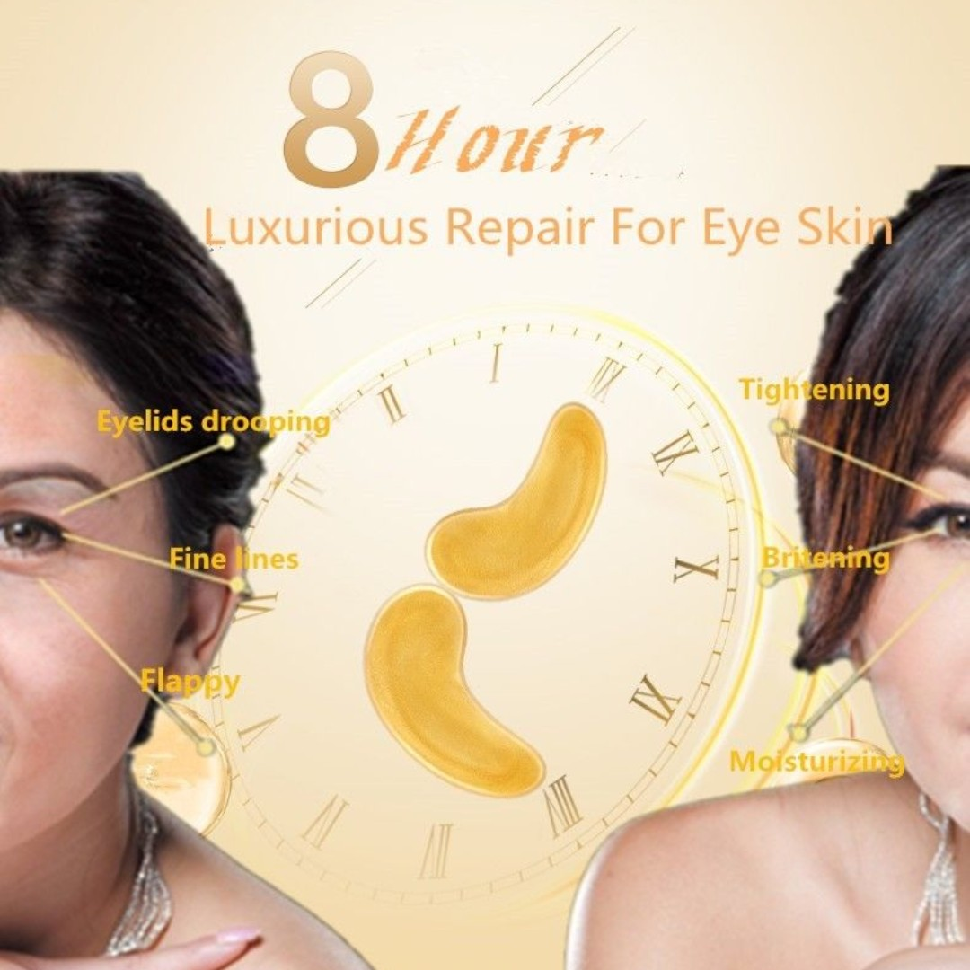 GOLD Collagen Crystal Eye Mask Anti Ageing Wrinkles Bags Dark Circles 24k 5 Pair