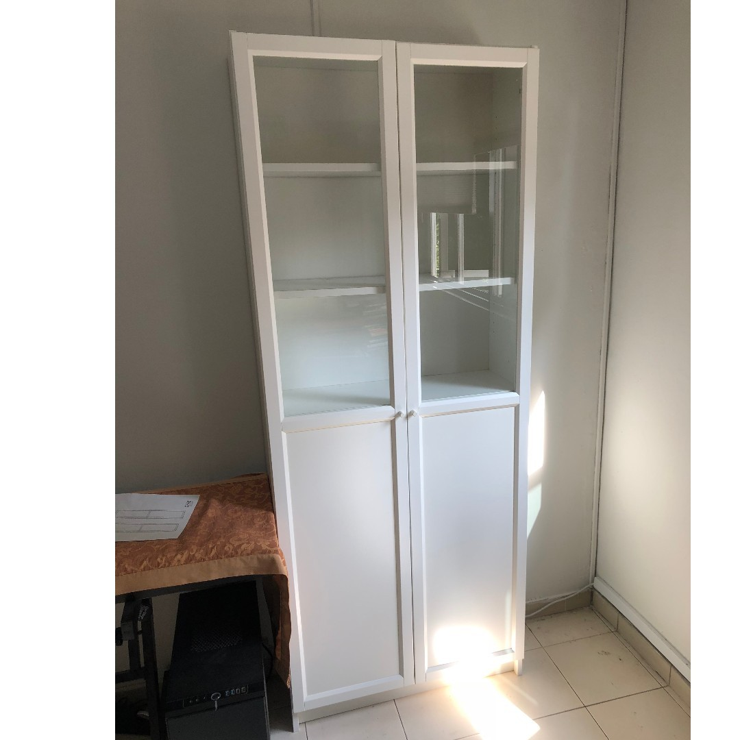 Ikea Billy Bookcase White With Oxberg Glass Doors On Carousell