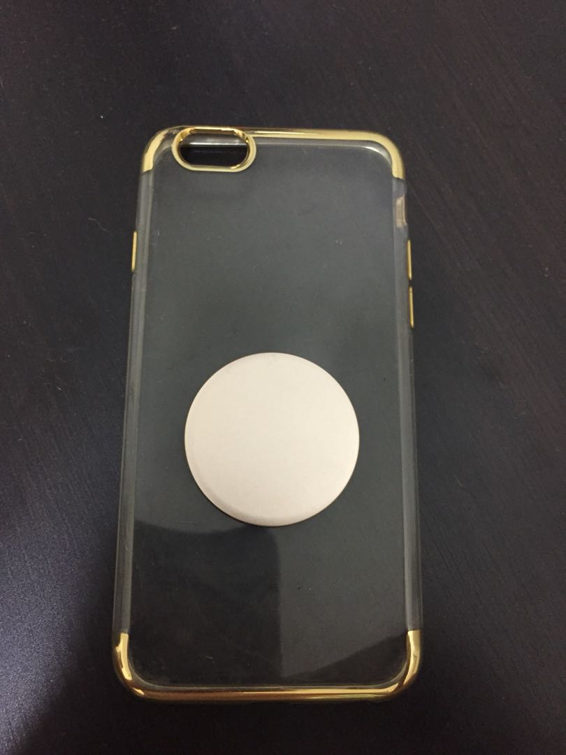 online store edac3 7c328 iPhone 6/6s clear and gold case with gold pop socket