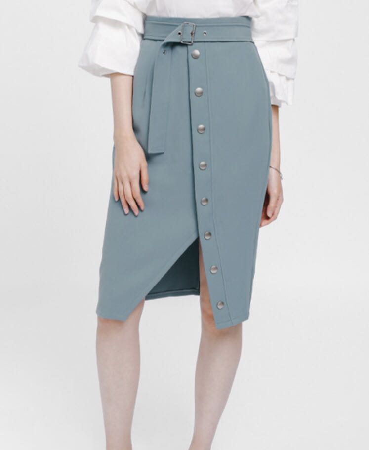 cd3fa3aef Lovebonito Oesley Belted Button Pencil Skirt in dusty blue, Women's  Fashion, Clothes, Dresses & Skirts on Carousell