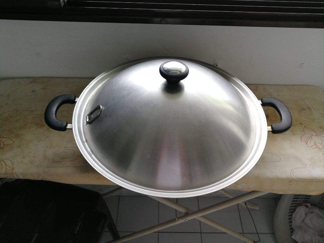 Meyer 40cm Flat Bottom Stainless Steel Wok With Lid Home Appliances