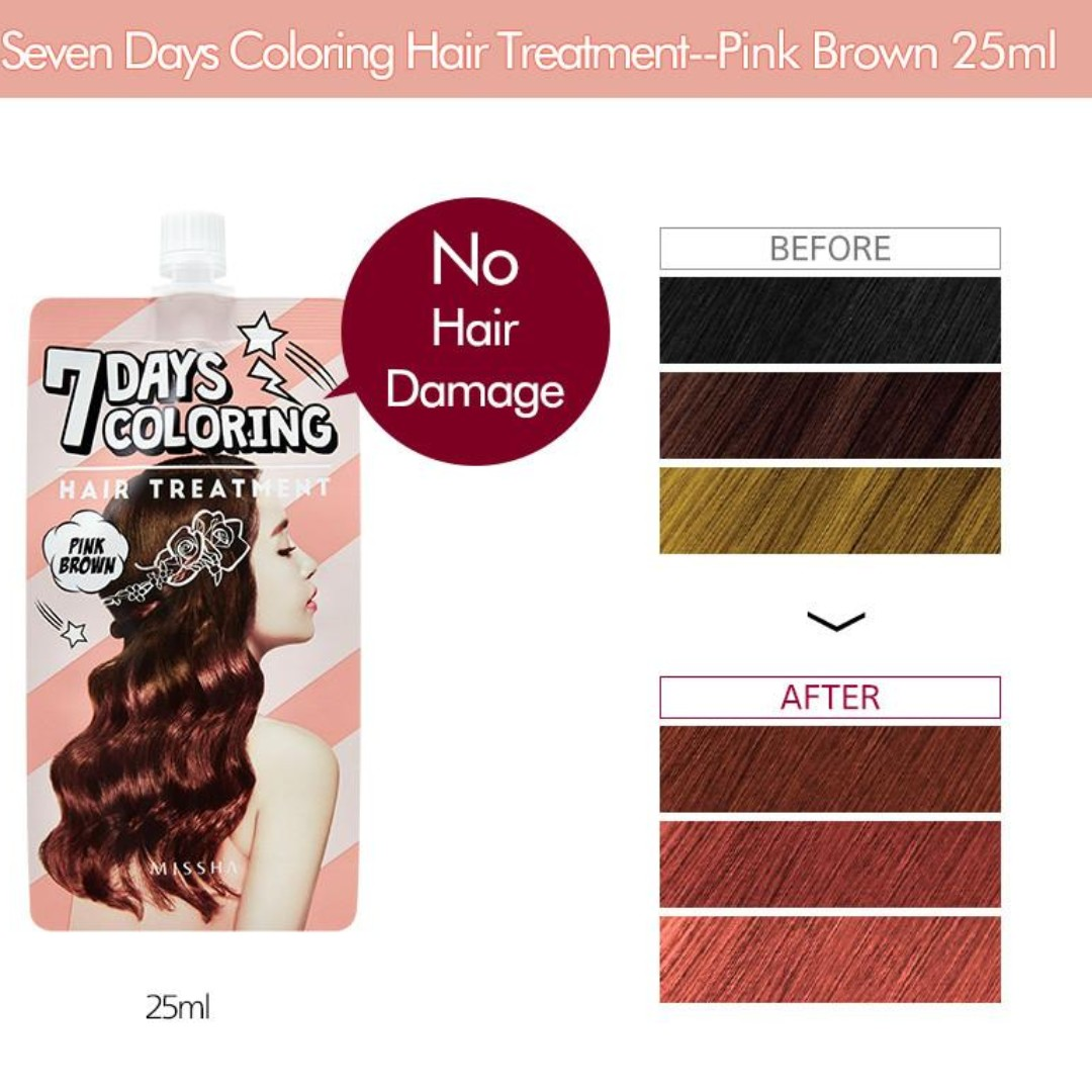 Missha 7days Coloring Hair Treatment Pink Brown Women S