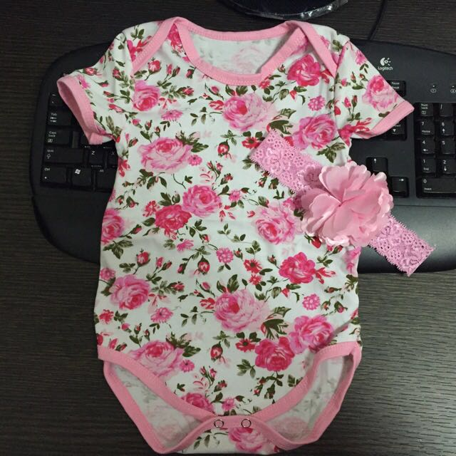 6f64ab2f3ab3 NEW 3 Pcs Set. Pink Roses Baby Girl Floral Romper Headband Booties ...