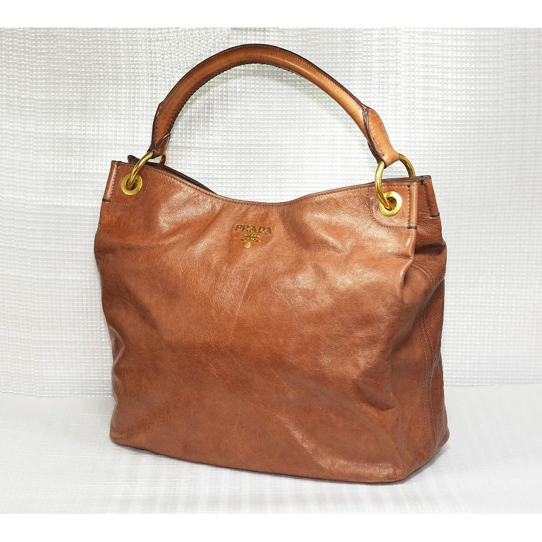 e44a0fe939ec Prada Vitello Leather Tote Handbag