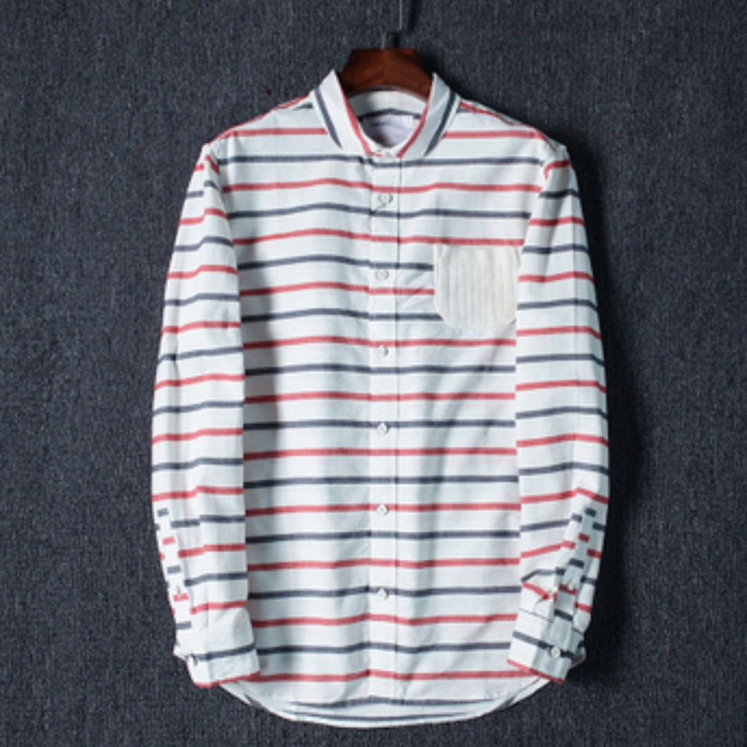 140a44bd42 Striped Long Sleeve Shirt, Men's Fashion, Clothes, Tops on Carousell