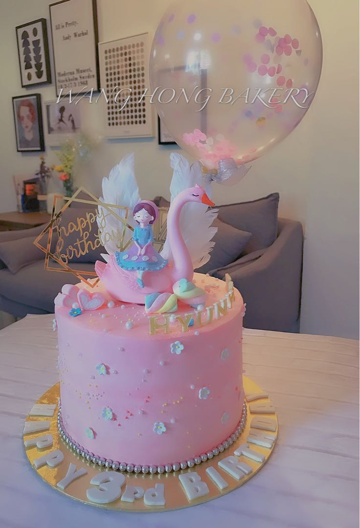 Incredible Swan And Little Girl Birthday Cake Food Drinks Baked Goods On Funny Birthday Cards Online Elaedamsfinfo