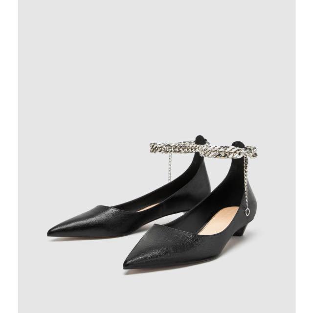 8766b30b436 zara ballerina shoes with chain ankle strap 1505 301 鏈帶尖頭鞋 ...