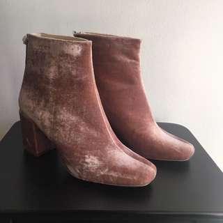 Zara Pink Velvet Block Heeled Boots