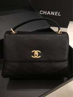 CHANEL CALFSKIN 2 WAY CHAIN GHW BAG BLACK