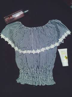 Gingham Offshie Top