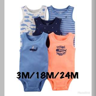 *3M/18M/24M* Brand New Carter's 5-Pack Tank Top Bodysuits For Baby Boy