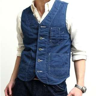 union made denim Wabash stripe vest