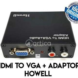 Converter HDMI To VGA + Adaptor Howell (Audio Adapter) Original