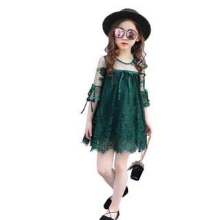Girl trumpet sleeves lace princess dress