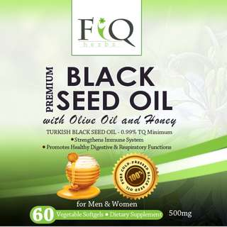 Halal Premium Turkish Black Seed Oil with Olive Oil and Honey 60 Softgel