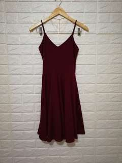 Plain maroon casual dress soft stretchable