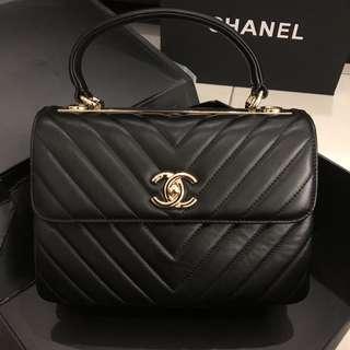 Chanel Chevron Trendy CC Bag Style Black GHW