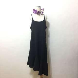 🚚 全新,韓國購入,寬鬆荷葉斜襬造型細肩帶洋裝,背心裙,長洋裝