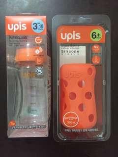 UPIS Pure Glass feeding bottle 260ml & Colour Change Silicone Sleeve