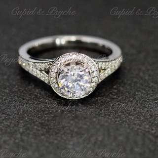 RG205516 Cupid & Psyche Jewellery 戒指 一卡 主石 求婚戒指 鑽戒 18K 鍍鉑金 925 silver 蘇聯石 ENGAGEMENT RING 禮物
