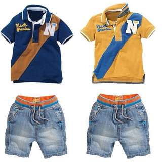 Boys lapel mixed-color short-sleeved T-shirt + jeans