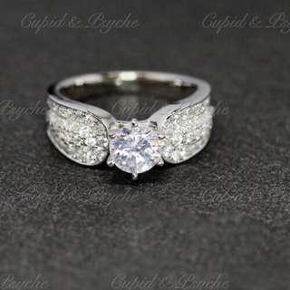 RG202903 Cupid & Psyche Jewellery 戒指 一卡 主石 求婚戒指 鑽戒 18K 鍍鉑金 925 silver 蘇聯石 ENGAGEMENT RING 禮物