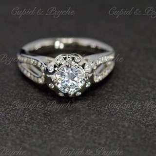 RG201903 Cupid & Psyche Jewellery 戒指 一卡 主石 求婚戒指 鑽戒 18K 鍍鉑金 925 silver 蘇聯石 ENGAGEMENT RING 禮物