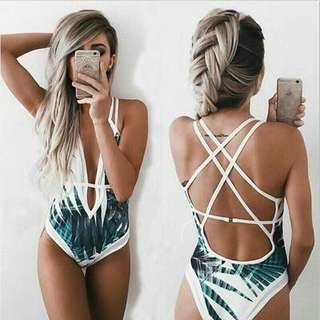 Palm Design One Piece Swimwear  swimsuit