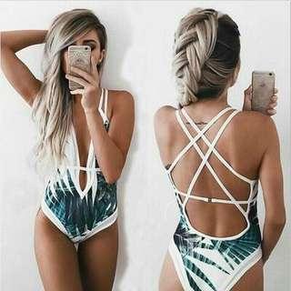 Palm Design One Piece Swimwear swimsuit
