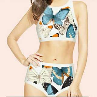 Printed Two Piece High Waisted SwimwearSwimsuit