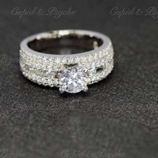 RG200477 Cupid & Psyche Jewellery 戒指 一卡 主石 求婚戒指 鑽戒 18K 鍍鉑金 925silver 蘇聯石 ENGAGEMENT RING 禮物