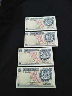 4pcs of sg $2 running  number  4 x $6