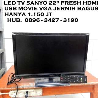 "Led Tv Sanyo 22"" Fresh Hdmi Usb Movie Vga Bandel Katapang SoReaNG"