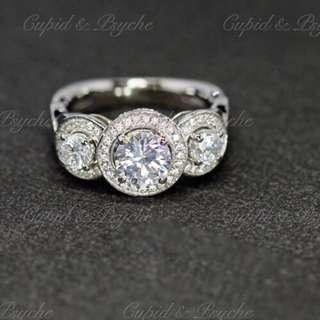 RG208340 Cupid & Psyche Jewellery 戒指 一卡 主石 求婚戒指 鑽戒 18K 鍍鉑金 925純銀 蘇聯石 ENGAGEMENT RING 禮物