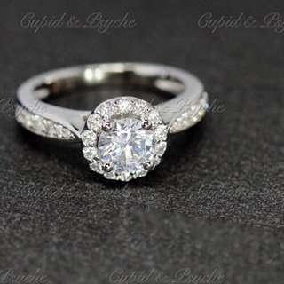 RG207243 Cupid & Psyche Jewellery 戒指 一卡 主石 求婚戒指 鑽戒 18K 鍍鉑金 925純銀 蘇聯石 ENGAGEMENT RING 禮物