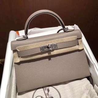 Hermes Mini Kelly 2代 M8 Gris Asphalte銀河灰 Epsom 銀釦 A刻 5月發票