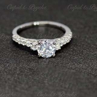 RG207118 Cupid & Psyche Jewellery 戒指 一卡 主石 求婚戒指 鑽戒 18K 鍍鉑金 925silver 蘇聯石 ENGAGEMENT RING 禮物