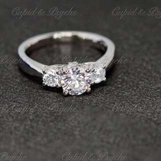 RG207116 Cupid & Psyche Jewellery 戒指 一卡 主石 求婚戒指 鑽戒 18K 鍍鉑金 925純銀 蘇聯石 ENGAGEMENT RING 禮物