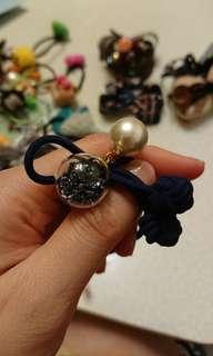 韓製深藍珍珠玻璃球橡根