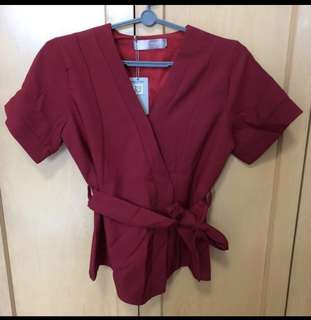 Wrap button ribbon top in Wine Red