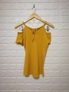 Free size mustard yellow cold shoulder top
