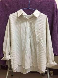 🚚 寬鬆條紋襯衫 (米白色)