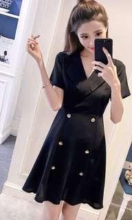 🚚 黑色連衣裙v領小洋裝 排扣宴會服 婚禮 聚會 謝師宴