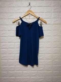 Free size Dark blue green cold shoulder top