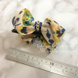 MADE IN KOREA Yellow Floral Bow Ribbon Lace Hair Clip 蝴蝶結碎花香蕉夾